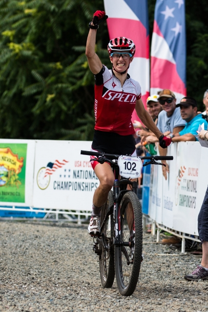 Lea Davison cruised to victory in the elite women's cross-country race