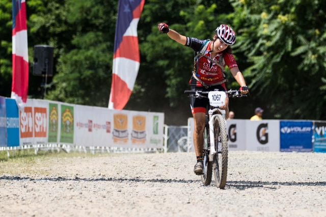 Miki Kedo posted the best time among the category 2 women to win the masters 30-39 cross-country mountain bike race