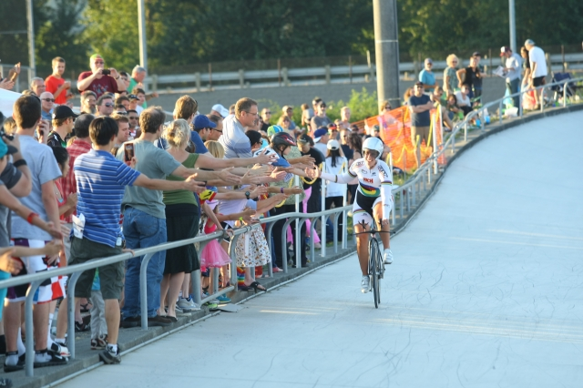 Sarah Hammer celebrates with the fans at the Marymoor Velodrome