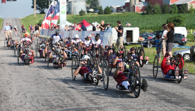 The handcyclists head out from the start