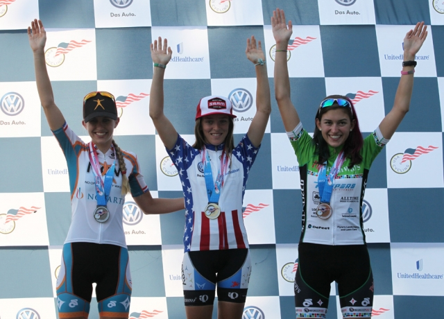 U23 women's road race podium