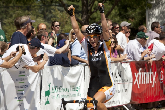 Jade Wilcoxson celebrates her victory at the 2012 Tour of Elk Grove