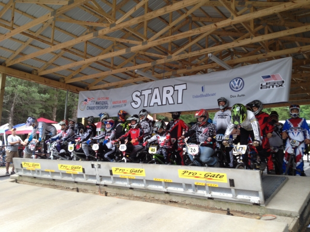 Riders wait for the gate to drop in the start house