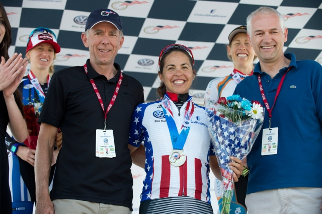 Carmen Small was all smiles after collecting her Stars-and-Stripes jersey