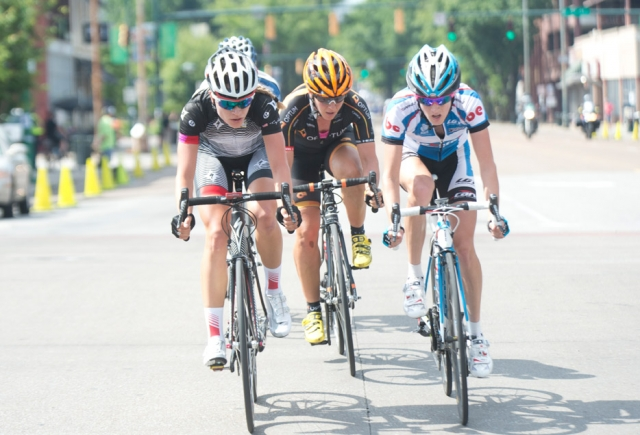Tayler Wiles (left), Jade Wilcoxson (center) and Leborne Development's Scotti Wilborne pace the breakaway