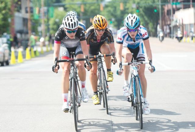 Tayler Wiles (left), Jade Wilcoxson (center) and Leborne Development's Scotti Wilborne pace the breakaway