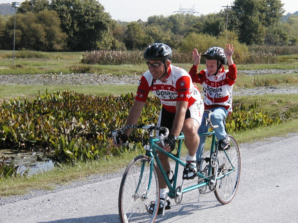 Ed's son Chris on a tandem back in 2001
