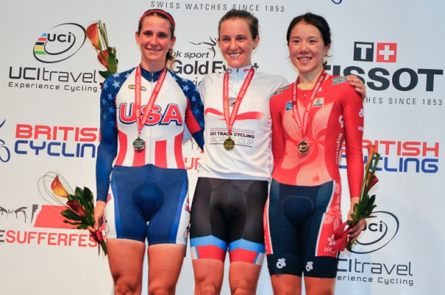 The women's points race podium.