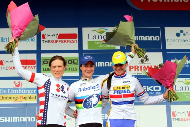 Katie Compton finished second in the women's race in Valkenburg