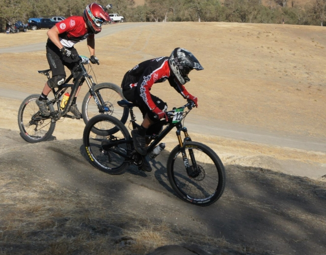 Two of Chico's riders duke it out on the rollers during the Men's B Dual Slalom.