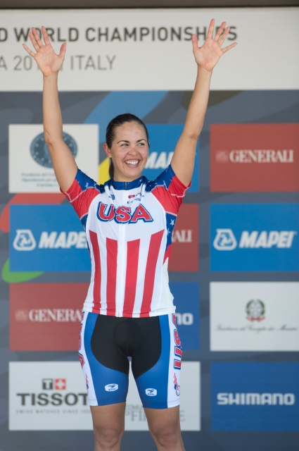 Carmen Small is all smiles after winning the bronze medal