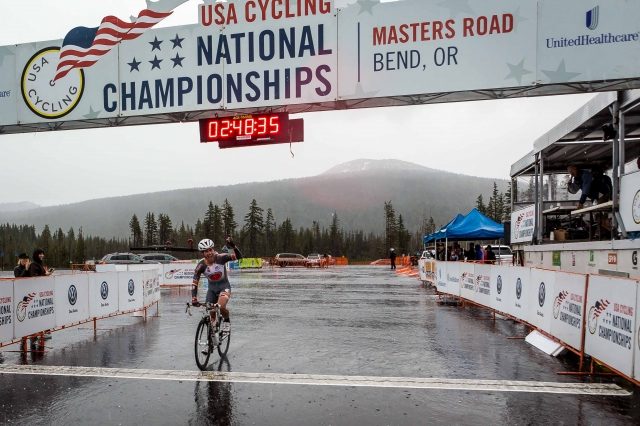 Christopher Phipps rode through the hail to win the men's 40-44 road race