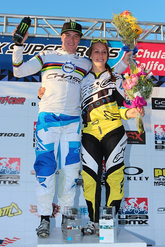 Connor Fields and Felicia Stancil on the podium after their wins. Photo by Jerry Landrum/BMXMania.com