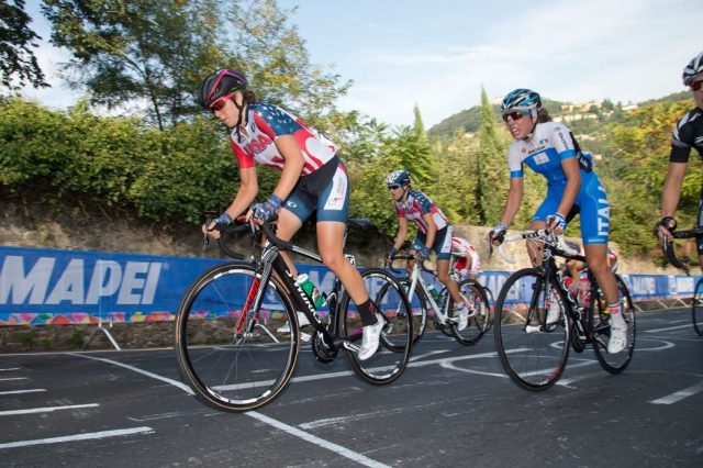 Evelyn Stevens and Kristin McGrath dictate the pace up the Via Salviati
