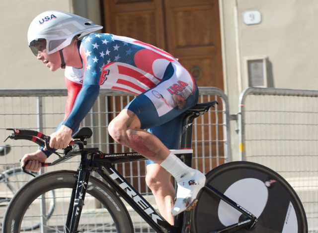 Lawson Craddock shows the effects of a crash, but still finished fifth in the U23 time trial