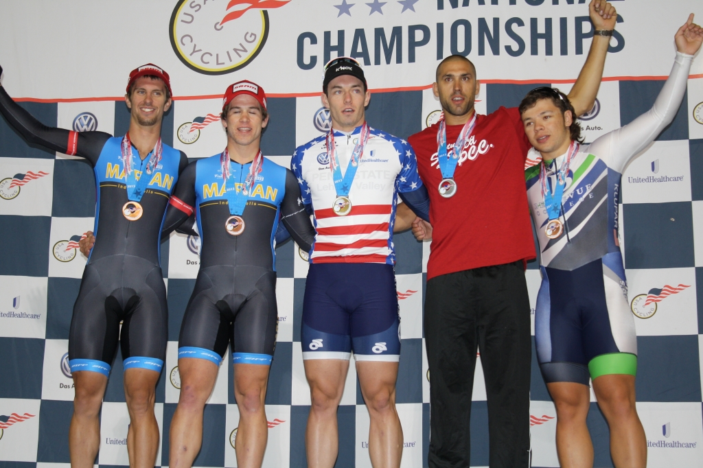 The men's individual pursuit podium