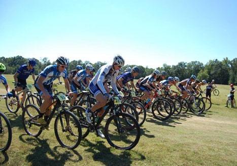 Riders set off at the Georgia Tech mountain bike race weekend.