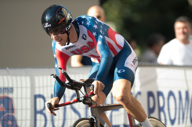 Taylor Phinney powers through the streets of Florence during the time trial at the 2013 Road World Championships