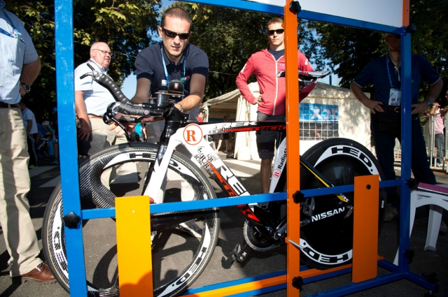 The bikes are measured prior to the start of the time trial