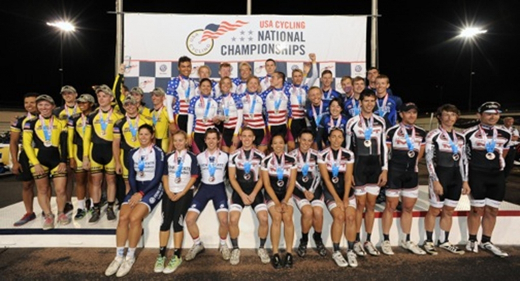 The Division II Team Omnium podium