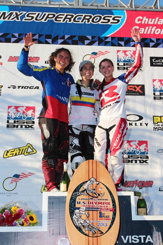 Alise Post is on the far right after grabbing the silver medal in Saturday's main event. Photo by Jerry Landrum/BMXMania.com