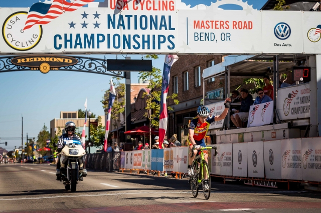 William Meyers lapped the field to win the men's 75-79 criterium national championship