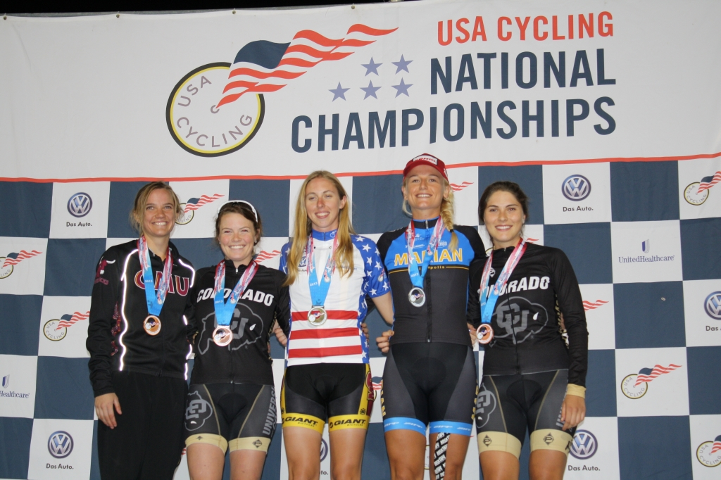 The women's individual pursuit podium