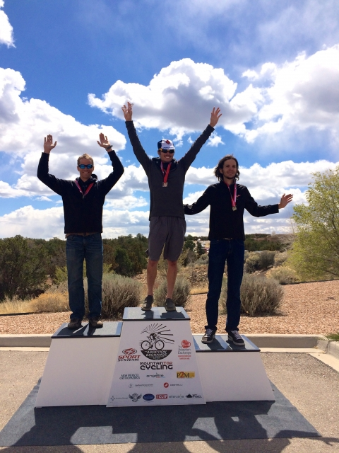 A men's podium during the SWCCC conference championships (Photo Credit: Allison Alterman).