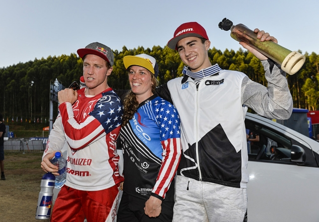 Aaron Gwin, Jill Kintner, and Luca Shaw after the downhill races