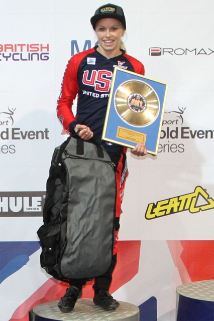 Brooke Crain placed second at the Supercross BMX World Cup in Manchester on April 19