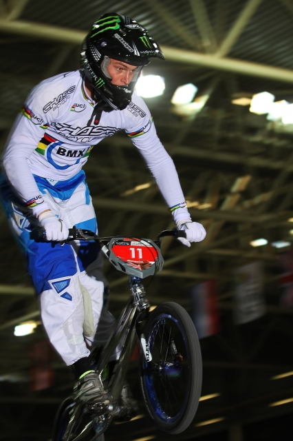 Connor Fields on his way to a 2nd place finish at Round One of the UCI BMX Supercross World Cup Series.