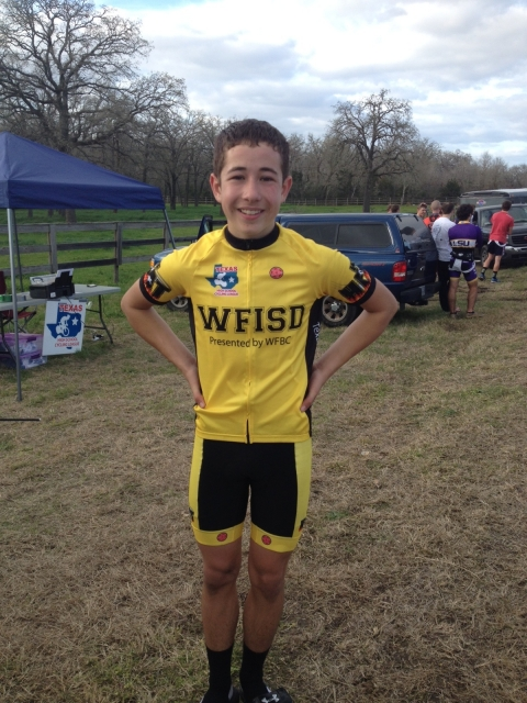 Eric Fulton, a Novice racer from Wichita Falls shows off his team kit.