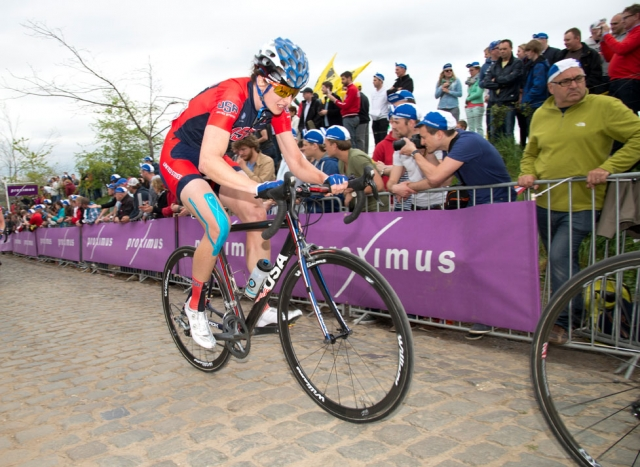 Lauren Komanski charges up the Kwaremont climb