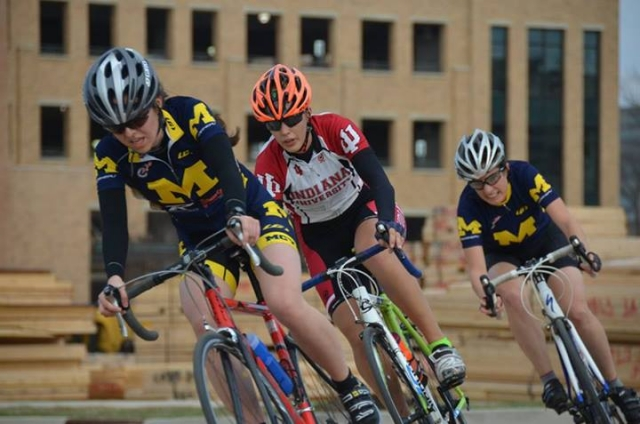 Riders from Michigan and Indiana compete during the women's B criterium at Notre Dame (Photo Credit: Marcus Thompson)