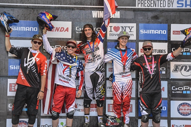 Aaron Gwin (second from left) took second in the downhill at the 2014 UCI MTB World Cup in Windham, NY