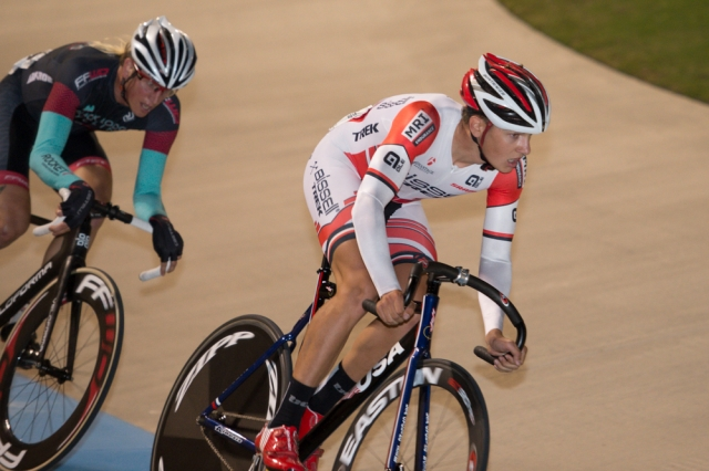 Alexandre Darville rides to victory in the points race at the 2014 USA Cycling Elite Track Nationals