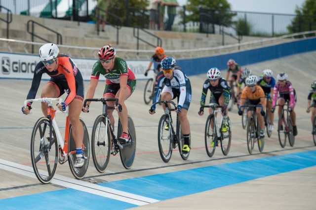 Beth Newell leads Erica Allar during the women's omnium scratch race at the 2014 USA Cycling Elite Track Nationals in Rock Hill, S.C.