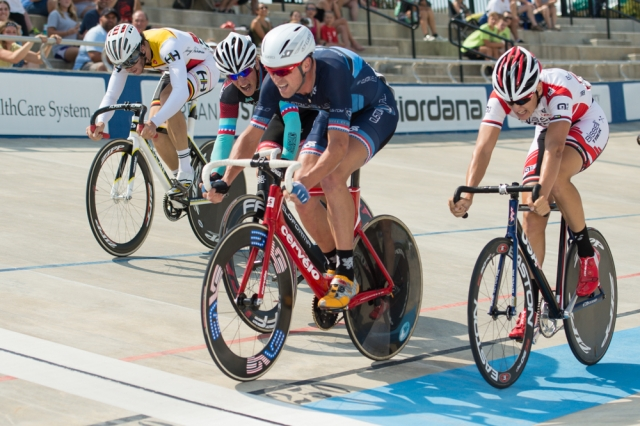 Bobby Lea wins the scratch race for his fifth gold medal at the 2014 USA Cycling Elite Track National Championships