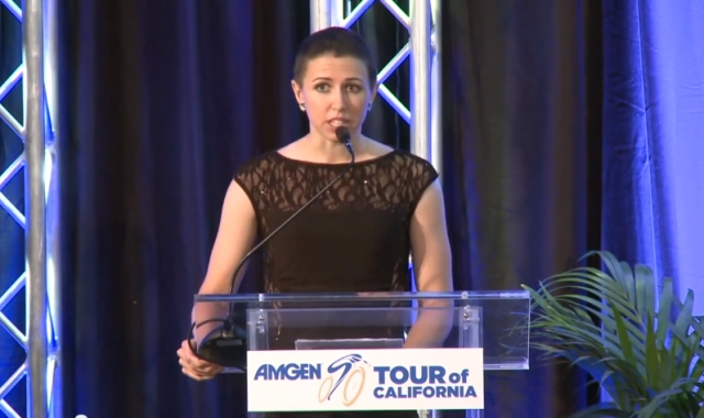 Crowell speaks at the 2014 Amgen Tour of California.