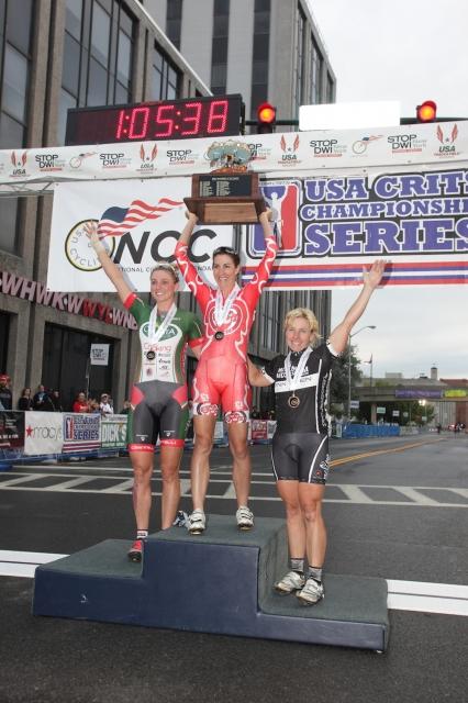 Erica Allar, Sarah Fader and Laura Van Gilder (l to r) celebrate on the women's pro podium.