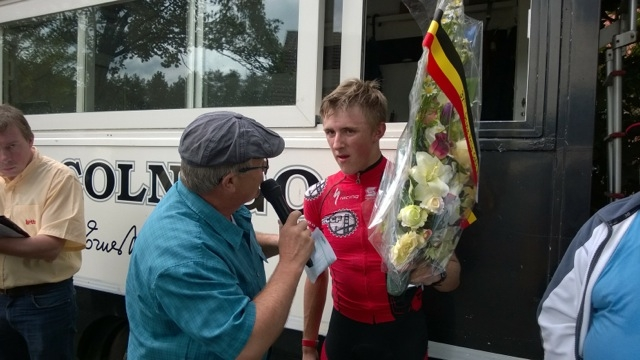 Gage Hecht being interviewed after Herentals kermesse.