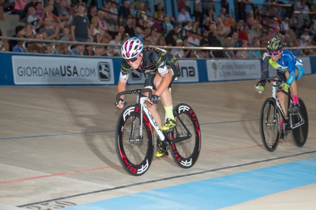 Korina Huizar wins the final sprint in winning the points race at the 2014 USA Cycling Elite Track Nationals
