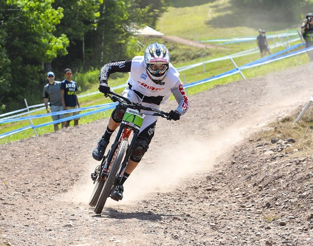 Luca Shaw races to a silver medal in the juniors downhill at the 2014 UCI MTB World Cup in Windham, NY