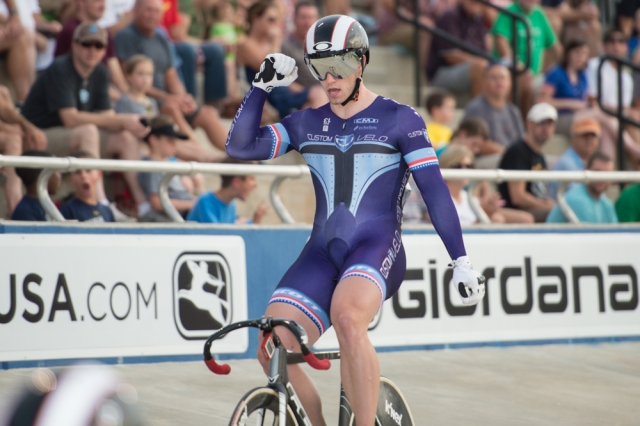 Matthew Baranoski celebrates his keirin victory at the 2014 USA Cycling Elite Track National Championships