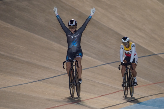 Missy Erickson celebrates her sprint title at the 2014 USA Cycling Elite Track Nationals
