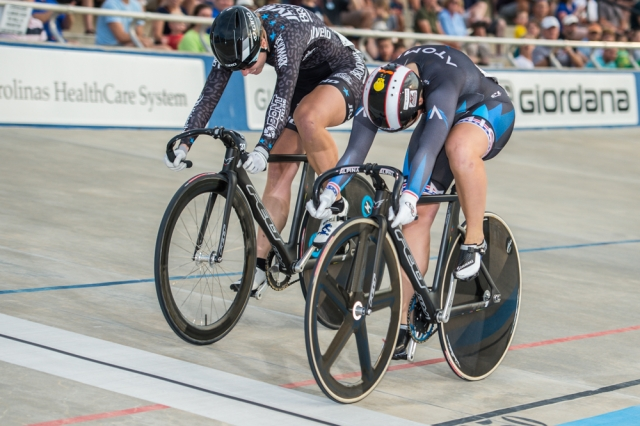 Missy Erickson (r) edges Tela Crane in the keirin final at the 2014 USA Cycling Elite Track National Championships