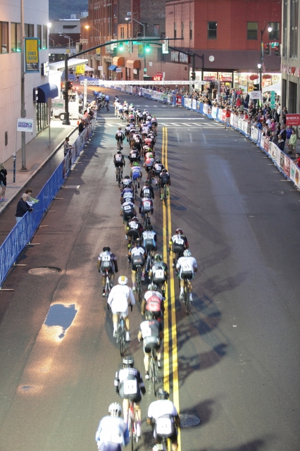 The peloton makes its way through the streets of Binghamton, N.Y.