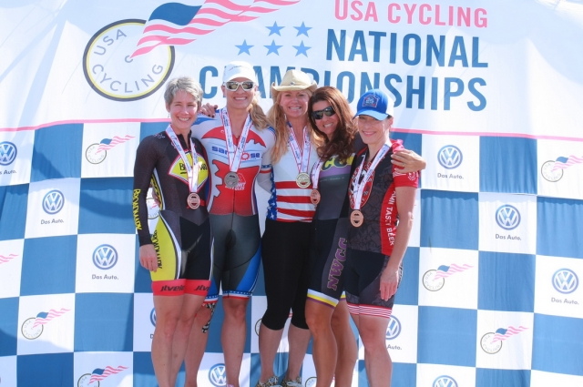Women's 45-59 time trial podium