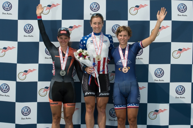 Women's scratch race podium (l to r): Beth Newell, Tela Crane and Kim Geist at the 2014 USA Cycling Elite Track National Championships