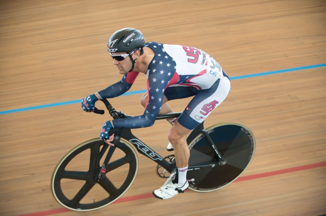 Jacob Duehring races in the men's omnium during the 2014 UCI Track World Championships in Cali, Colombia